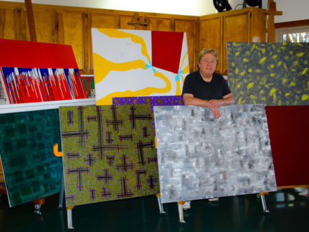 Rod Jones 8 Paintings in Studio Receptive Abstract Patternism